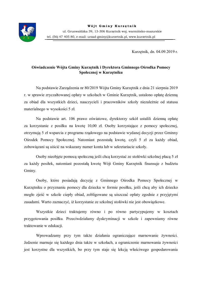 Ilustracja do informacji: Oświadczenie Wójta Gminy Kurzętnik i Dyrektora Gminnego Ośrodka Pomocy Społecznej w Kurzętniku