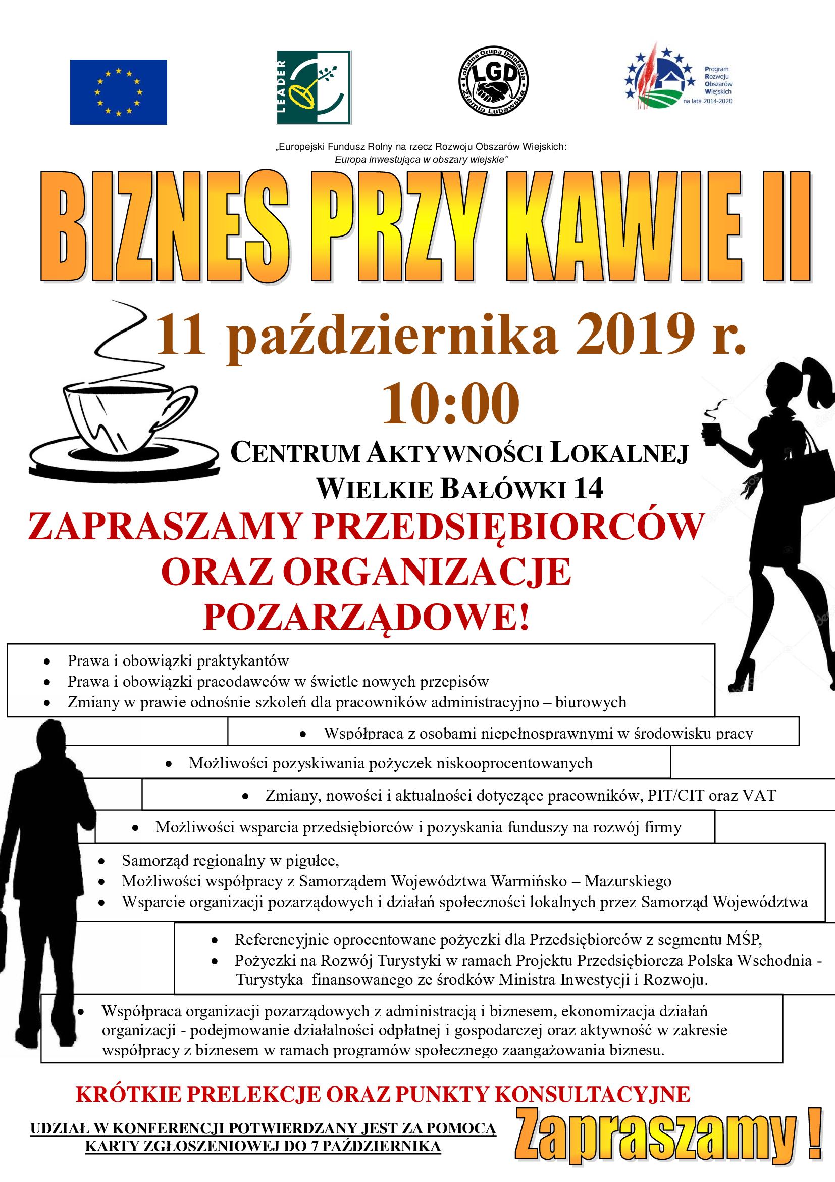 Ilustracja do informacji: Konferencja dla Przedsiębiorców i Organizacji Pozarządowych ,,Biznes przy kawie II''