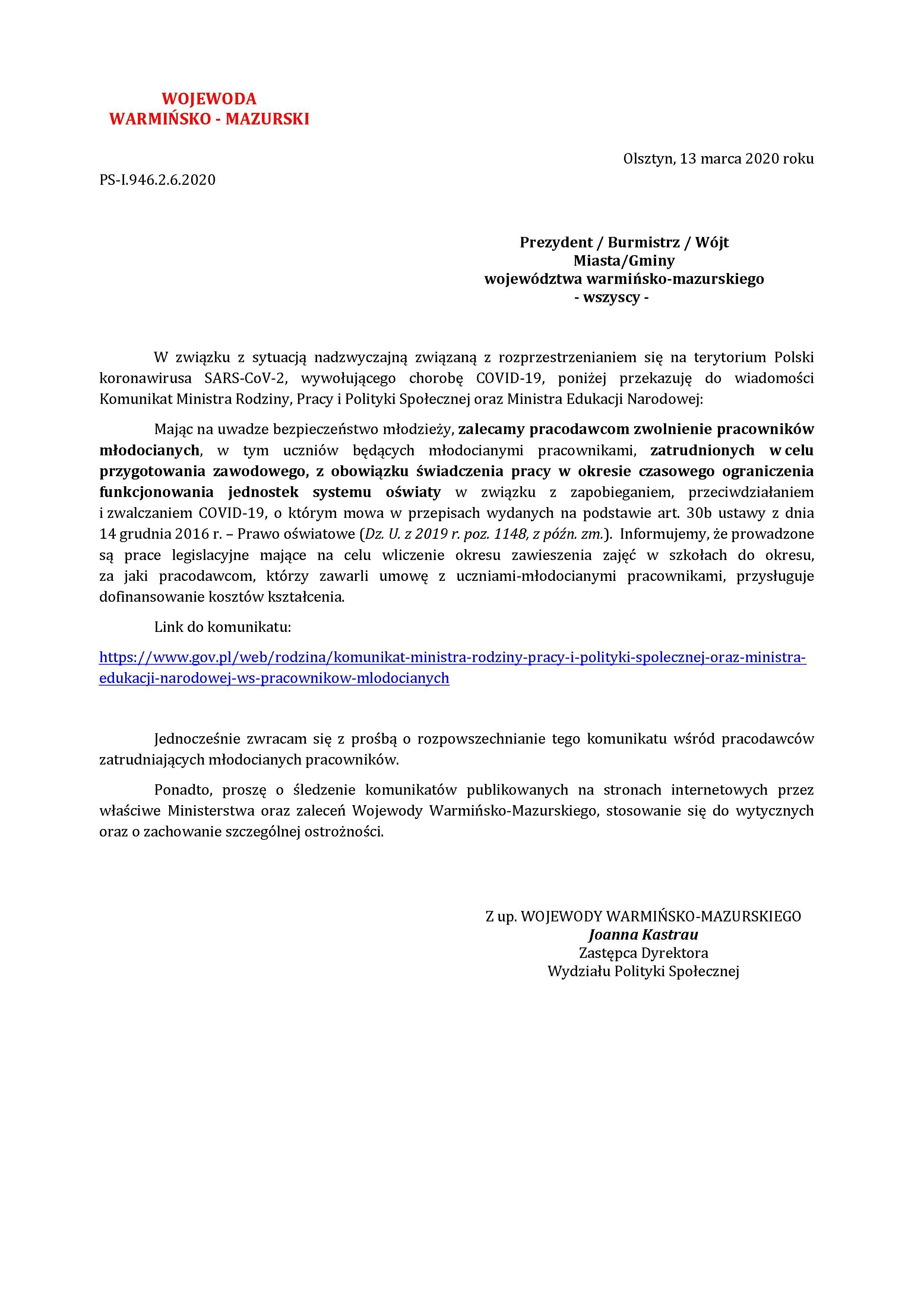 Ilustracja do informacji: Zalecenie dot. pracowników młodocianych