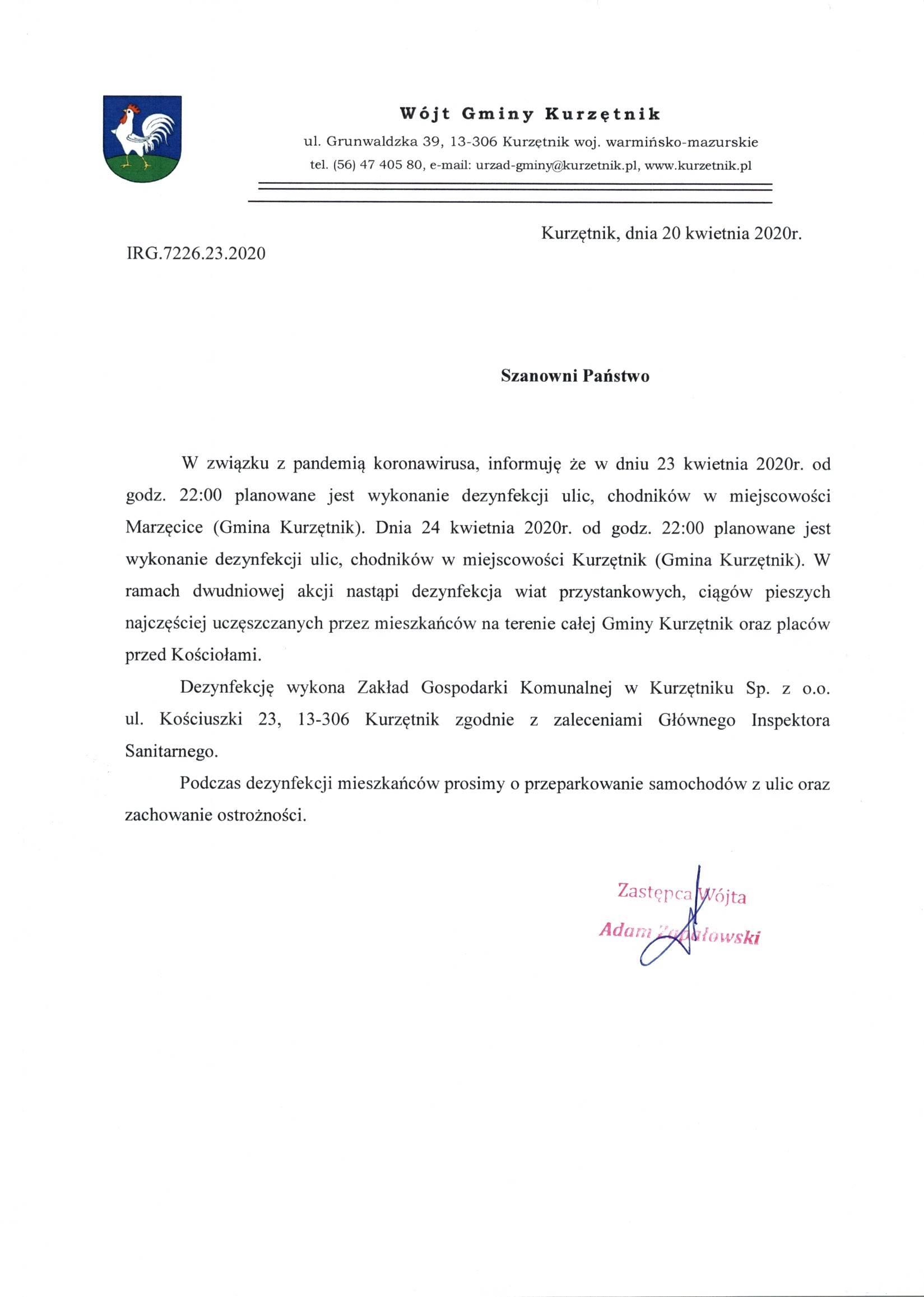 Ilustracja do informacji: Dezynfekcja ulic i chodników w Kurzętniku oraz Marzęcicach