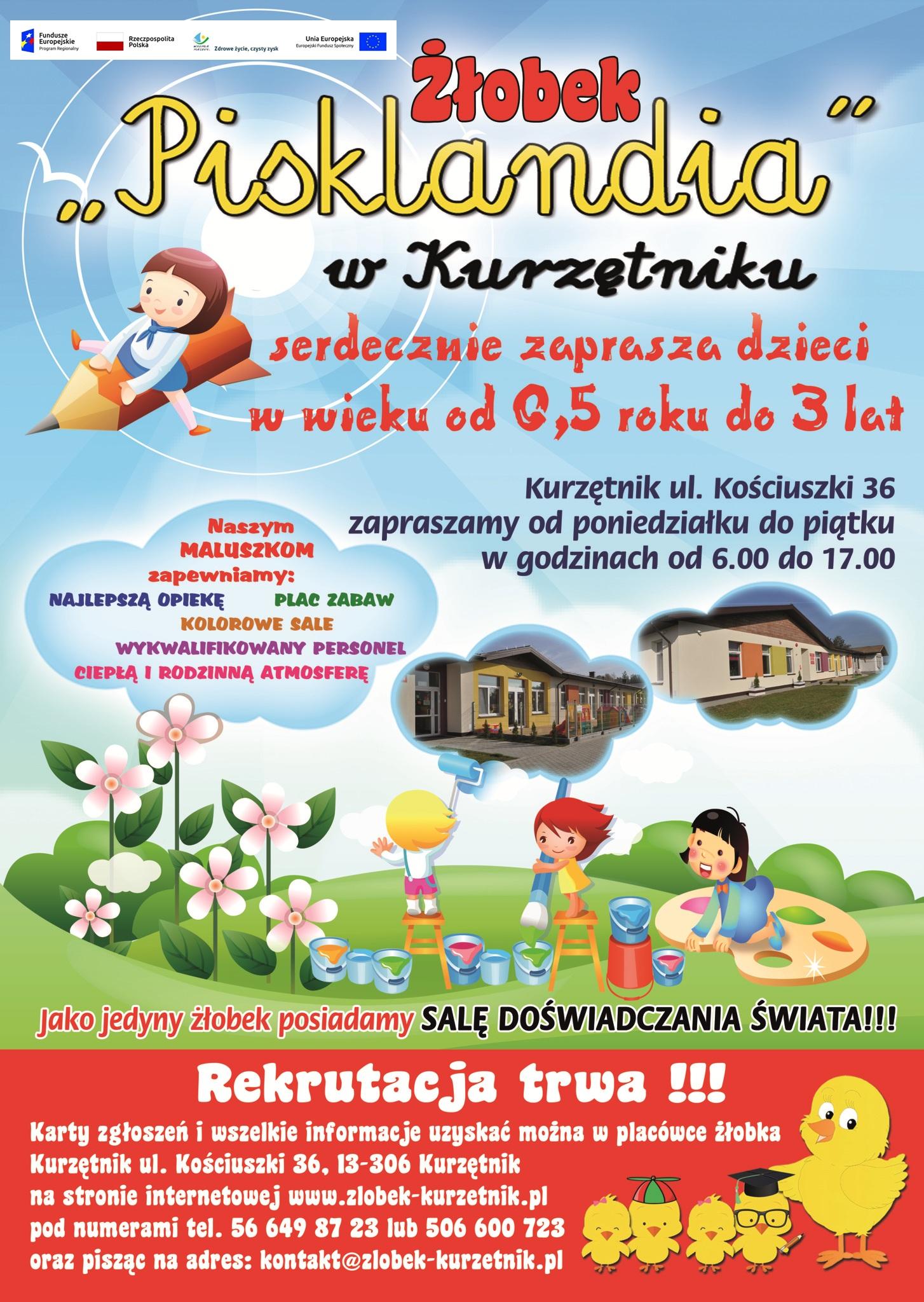 """Ilustracja do informacji:  Wolne miejsca do Żłobka ,,Pisklandia"""" rekrutacja trwa do piątku 14.08.2020 do godziny 15.00"""