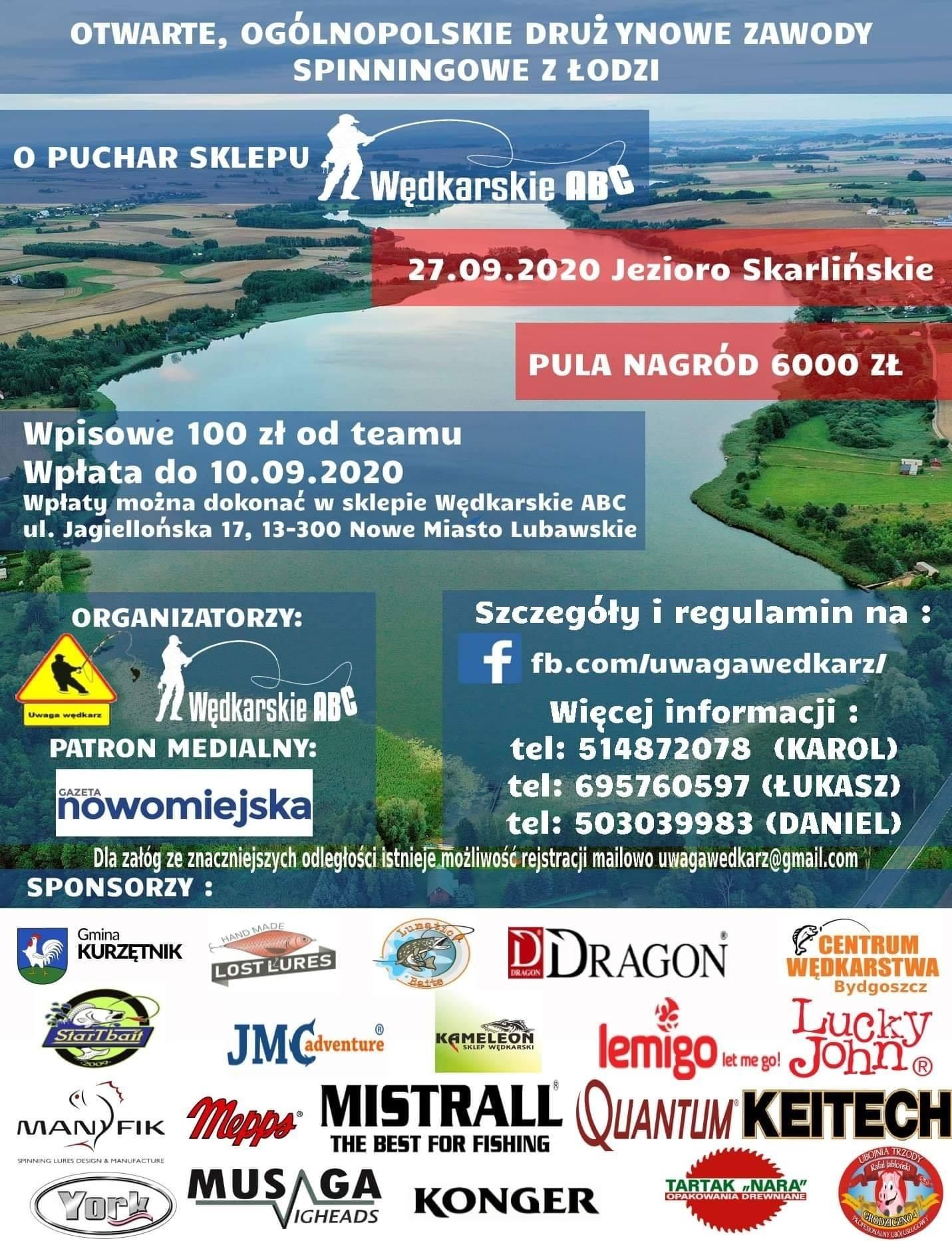 Ilustracja do informacji: Otwarte, ogólnopolskie drużynowe zawody spinningowe z łodzi