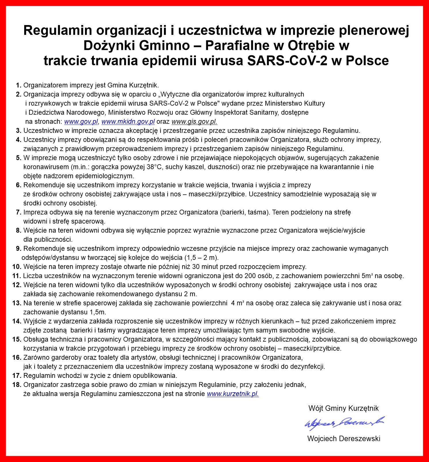 Ilustracja do informacji: Regulamin organizacji i uczestnictwa w imprezie plenerowej Dożynki Gminno-Parafialne w Otrębie