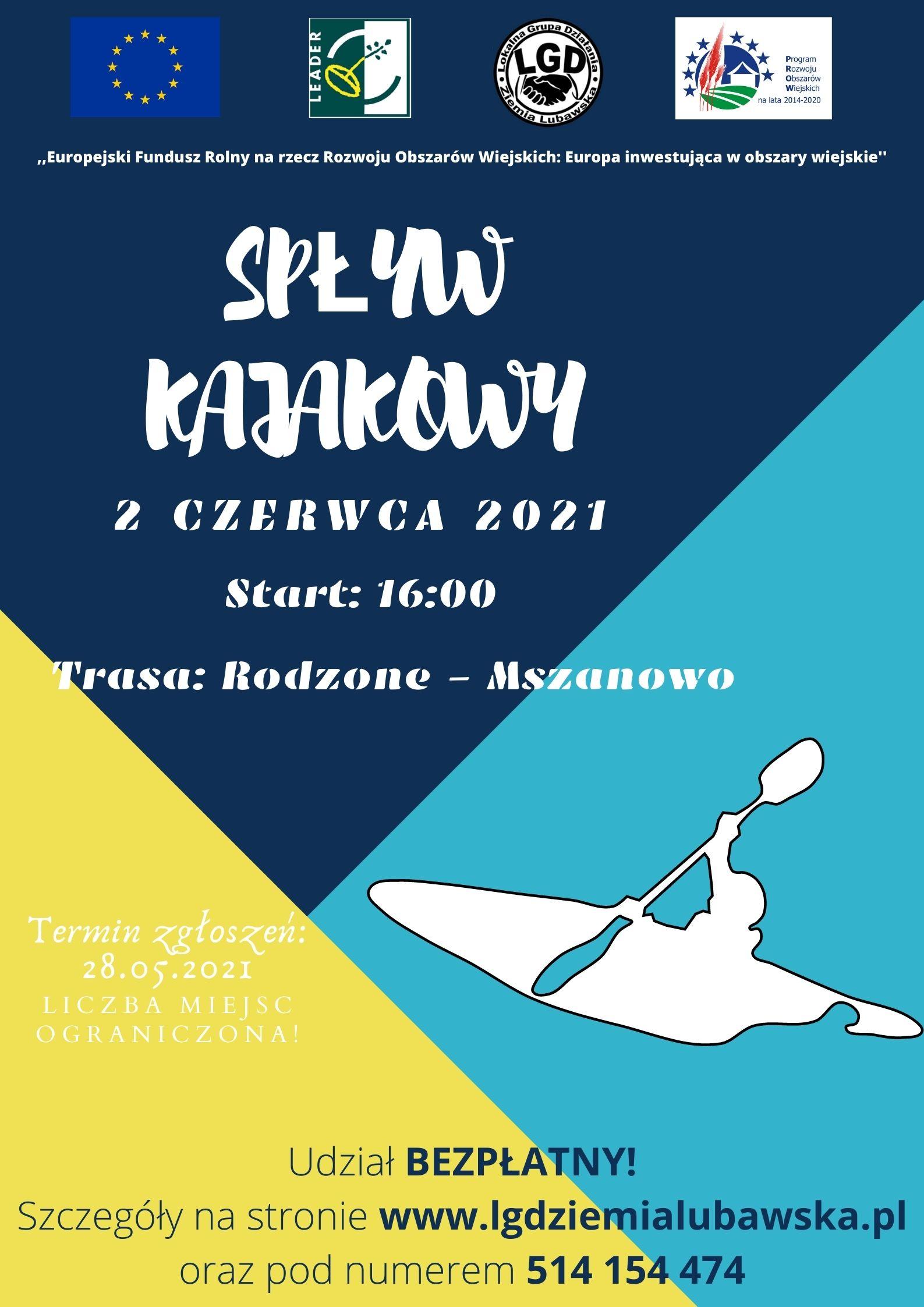 Ilustracja do informacji: Spływ kajakowy szlakiem rzek Drwęcy i Wel