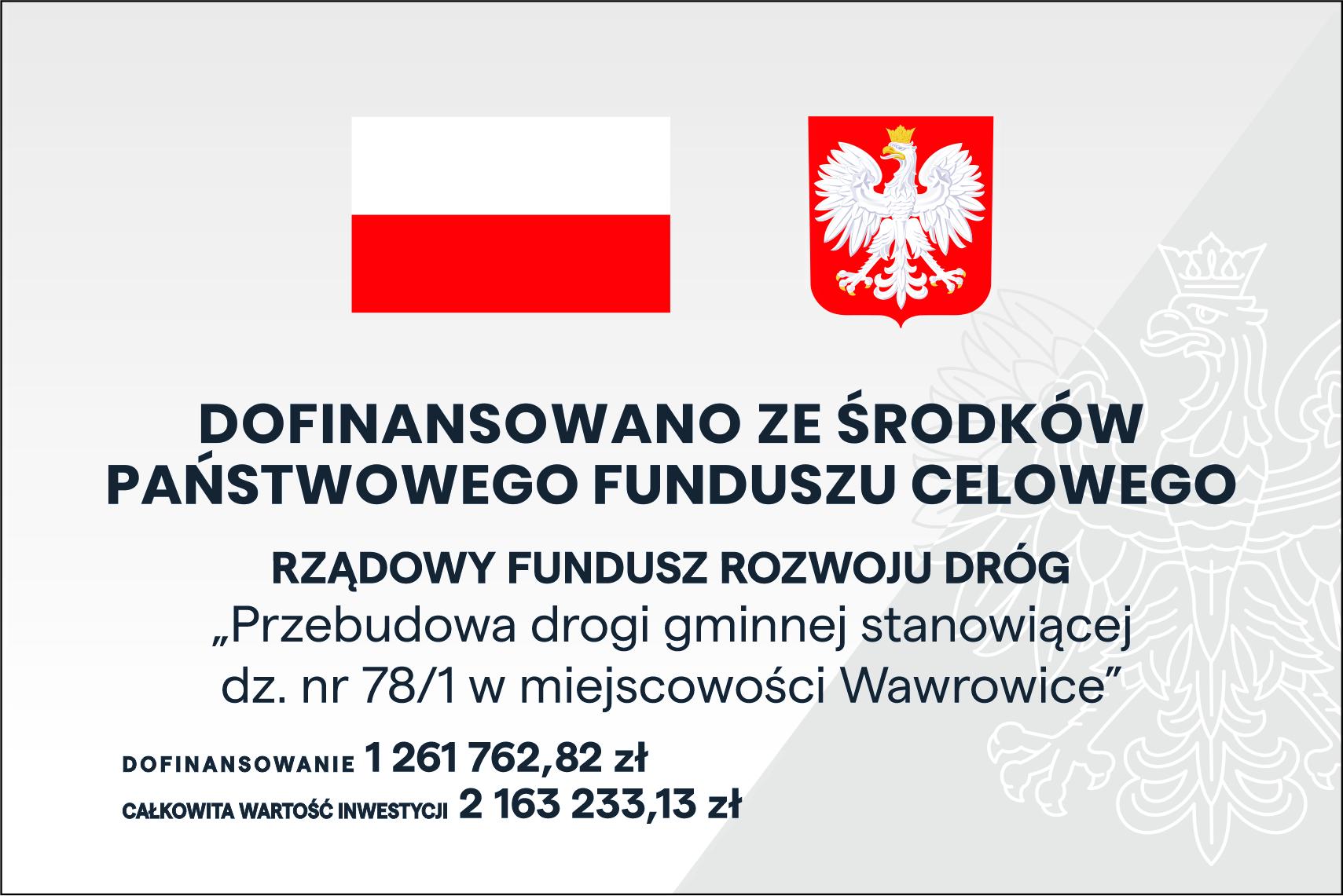 Ilustracja do informacji: Przebudowa drogi gminnej stanowiącej dz. nr 78/1 w miejscowości Wawrowice