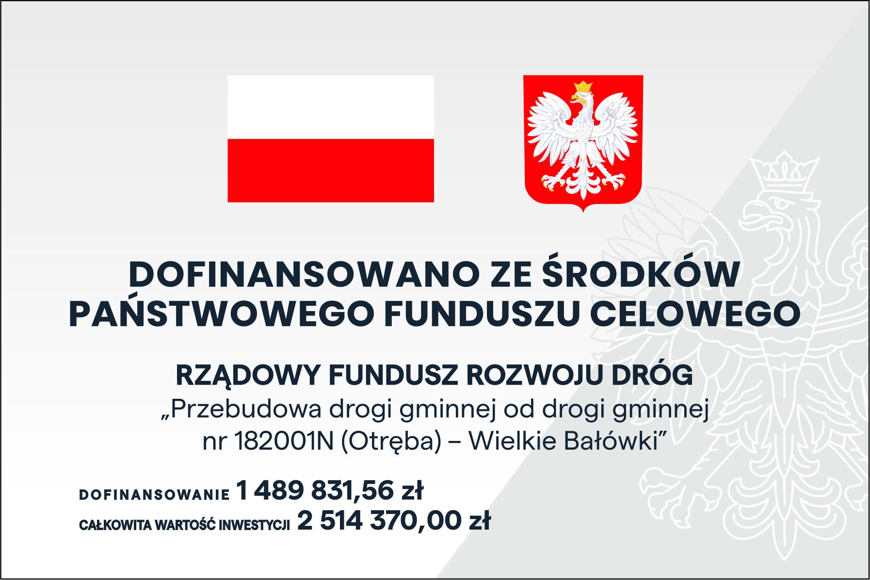 Ilustracja do informacji: Przebudowa drogi gminnej od drogi gminnej nr 182001N (Otręba) – Wielkie Bałówki