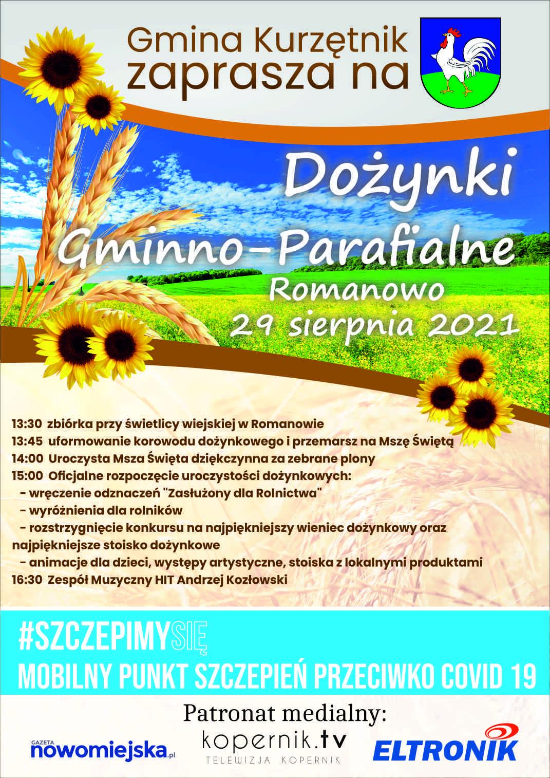 Ilustracja do informacji: DOŻYNKI GMINNO-PARAFIALNE ROMANOWO 29 SIERPNIA 2021